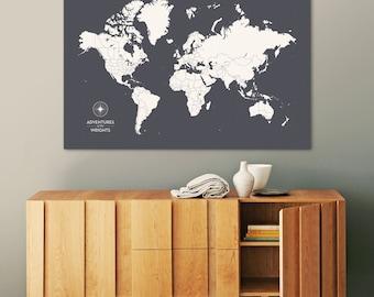 Push Pin Travel Map, Push Pin World Map, Pin Map, Custom Map, World Travel Map, World Map Canvas, Push Pin Map, Large World Map, Travel Map