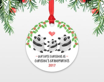 Panda Bear Christmas Ornament First Christmas as Grandparents Gift New Grandma Gift New Grandpa Gift Christmas Ornaments Personalized Gift
