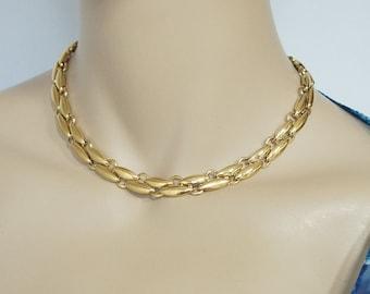 Vintage Necklace Choker Gold Tone Link