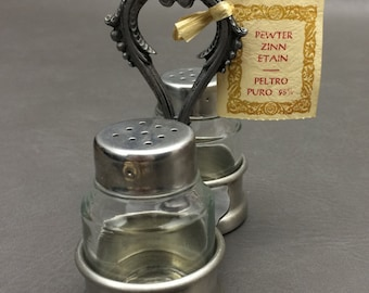 Vintage Peltro 95% Match Pewter Zinn Italian Made Salt and Pepper Shakers with Match Pewter Caddy