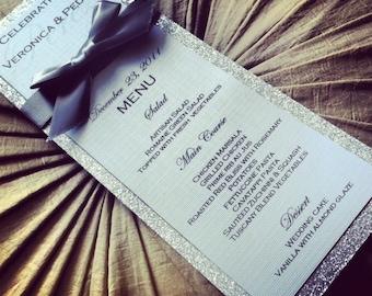 Silver wedding menu, glitter wedding menu with ribbon
