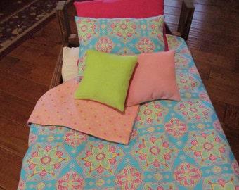 "Handmade 5-Pc. Reversible Aqua Blue and Pink Flower Burst Bedding for 18"" Doll"
