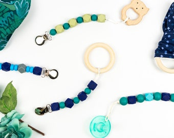 Silicone Pacifier Clip with Optional Organic Wooden Teething Toy - Teether Toy Clips - Nuk Fastener - Modern Paci Clip