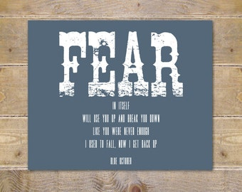 Blue October, Blue October Lyrics, Fear Lyrics, Wall Decor, Song Lyrics Prints, Custom Print, Blue October Lyrics, Wall Art, Prints
