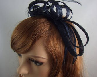 Navy Blue Sinamay Loop & Leaf Fascinator with Feathers - Occasion Wedding Races