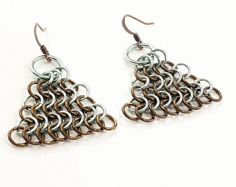 Sea foam Green and Brown Chainmaille Earrings