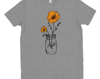 California Poppy Mason T-Shirt, State Flower, Wildflower T-Shirt