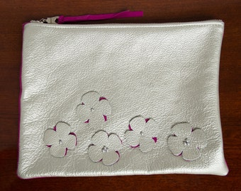 Metal Bloom clutch purse bag leather silver fuschia pearls handmade flower spring summer
