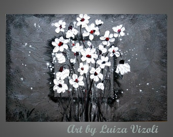 Abstract Modern 60x36 Original Painting White Flowers on Silver Palette Knife Textured Metallic Artwork  by Luiza Vizoli
