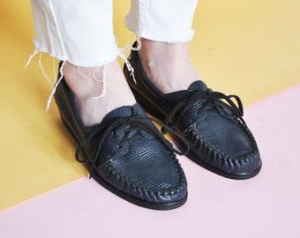 90s INDIGO oxford shoes LEATHER oxford shoes preppy OXFORDS bohemian tie shoes boho oxfords prep oxfords // Size 8 us / 5.5 uk / 38.5 eu