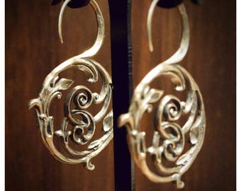 Silver or Brass Earring Acanthus