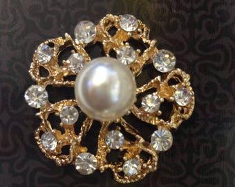 10 pcs Pearl and Rhinestone Button Broach, Gemstone Rhinestone Brooch Bouquet, Rhinestone Embellishment, Wedding DIY hair accessories.