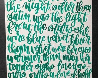 blue velvet by lana del rey lyrics ink painting