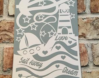 lighthouse paper cut/ nautical/ sailboat/ ocean/ waves/ stars/ hand cut/ handmade/ paper cut/ wall art/ home decor/ sail away/ gift idea