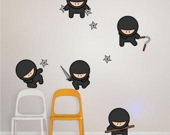 Ninja Wall Decals for Kids, Nursery Wall Ninjas, Ninja Wall Decals, Ninja Wall Decal Murals, Ninja Wall Art Designs, Ninja Wall Art, a29