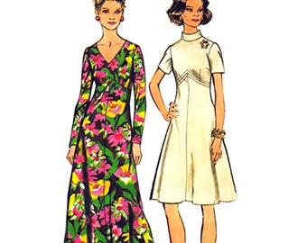 Flared Dress Pattern Simplicity 5850 Maxi Dress or Knee Length Womens Bust 44 Plus Sewing Pattern