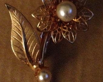 Vintage Mid Century 1950s Gold Filled Filigree Petals Pearls Leaf Blooming Flower Figural Pin Brooch