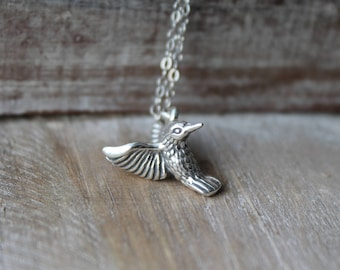 Hummingbird sterling silver 3d necklace