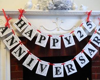 Anniversary Banner - 50th Anniversary Decorations  - 25th 40th 60th Anniversary Party Decorations - Golden Anniversary - Custom Colors