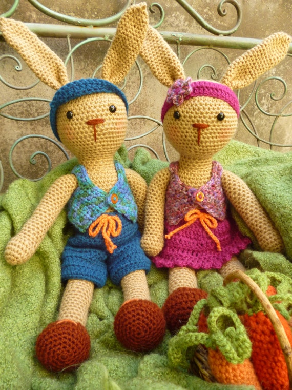 Benjamin and Brenda Bunny, Boy and Girl Rabbits - Amigurumi Crochet Pattern