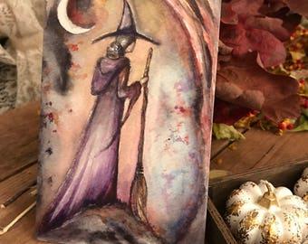 One Art Print 4x6 from my Original Painting Moon Victorian Witch Halloween Gothic Folk Terri Foss