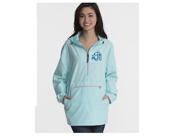 Ladies Pull Over, Monogrammed Jacket, monogrammed windbreaker, Charles River 9904, Monogrammed Pull over, pack n go