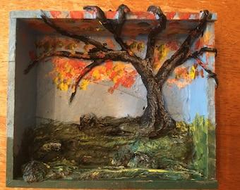 Pocket nature- mixed media painting in cigar box