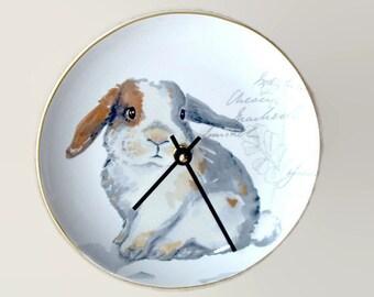 Cute Bunny Wall Clock, 8 Inch SILENT Porcelain Plate Clock, Unique Wall Decor, Kitchen Clock, Nursery Clock  2299