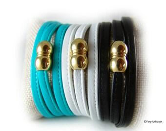 Wickelarmband Lederarmband Damen türkis oder schwarz oder weiss Edelstahl silber gold -  Armband Damen  - für sie - echt Leder - Sommer