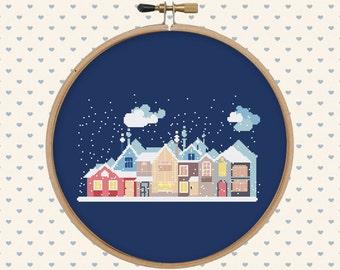 Snowy christmas houses cross stitch pattern - holiday cross stitch - cross stitch pattern - pattern pdf - xmas, christmas gift
