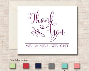 Personalized Mr. & Mrs. THANK YOU Notecards