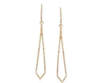 Diamond pave geometric kite shaped dangle earrings good vermeil earrings
