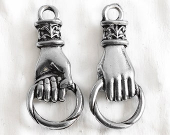 Hand Holding Ring charm, Hand Connector Link Fleur De Lis Pendant Beautiful Antique Silver lead free Pewter hands Made in USA (1 or 2 pcs)