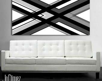"""Black and white geometric painting. 24x48"""". Canvas art. Modern wall art. Large painting. Manly office decor"""