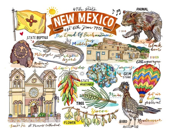 New Mexico State Print Illustration State Symbols Home