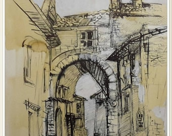 An old door in the South, wash drawing and ink