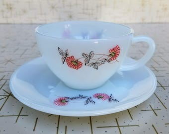 Fire King Cup and Saucer Set Fleurette Red Flower