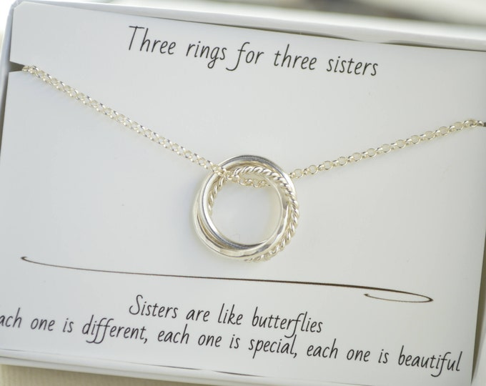 30th Birthday gift for daughter, 3 Rings necklace, 3 Best friends gif, 3rd  Anniversary gift, 3 Sisters necklace, Petite necklace
