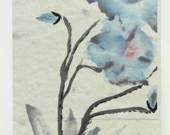 Blue Poppies BP1 Painted HandMade Art From Original Sumi-e Ink Painting on Rice Paper