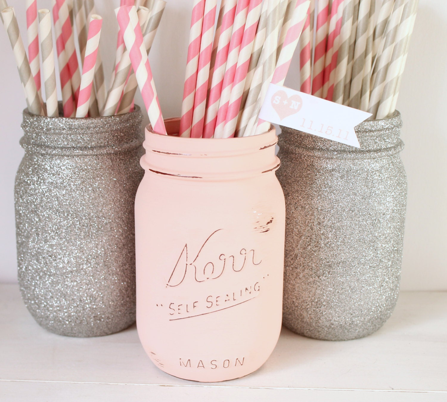Painted Mason Jar Blush Pink And Silver Glitter