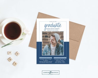 Graduation Invitation for Guys, Graduation Party Invitations 2018, Boy Graduate Announcement, College Graduation Announcement, Navy and Blue