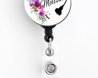 Retractable ID Badge Holder - Personalized Name - Ultrasound / Sonographer / Floral Heart - Badge Reel, Steth Tag, Lanyard, Carabiner
