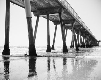 Black and White Hermosa Beach Photography, California Coast Art Prints  Los Angeles Seascape Beach Print South Bay Coastal Wall Art
