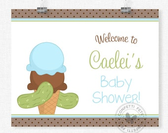 Pickles and Ice Cream Baby Shower Sign, Welcome Sign, Baby Shower Sign, Boy Baby Shower Decoration, Printable 8x10 Sign