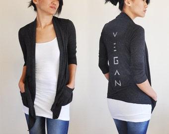 Vegan Clothing: Charcoal Open Neck Shawl Top - LOVE PEACE VEGAN
