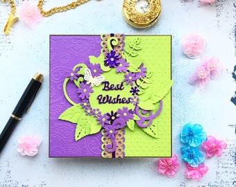 Best wishes card - elegant dimensional floral card - designer card - acid green and ultra violet - birthday - anniversary - any occasion