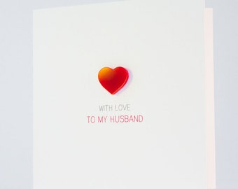 With Love to my Husband Card with Magnetic Love Heart Keepsake