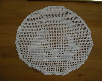 """Nativity"" crochet white doily"
