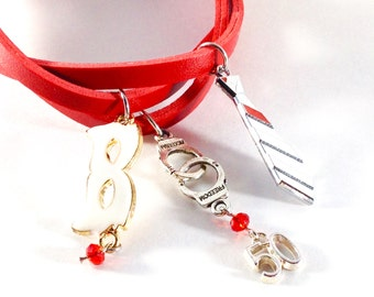 Fifty shades of Grey red leatherette bracelet and charms; White mask, tie and handcuffs
