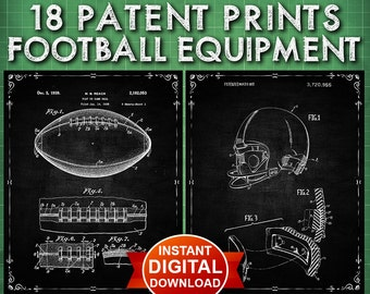 Football Decor Sports Patent Prints Set ( Instant Digital Download Set ) Sports Wall Art - Wall Decor - Football Decor- Football Art - 1503